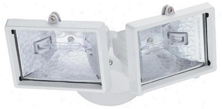 White Mini Twin Head Halogen Outdoor Flood Wall Light (h9573)