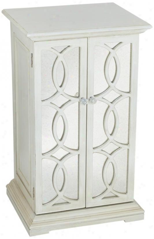 White Mirror Circle Fretwork 2-door Storage Chest (t8239)