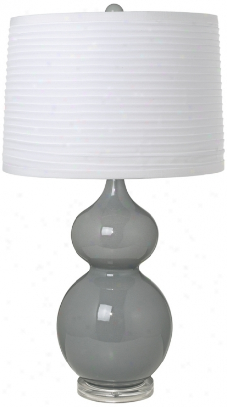 White Pleated Shade Double Gourd Slate Grey Ceramic Table Lamp (t5902-20281)