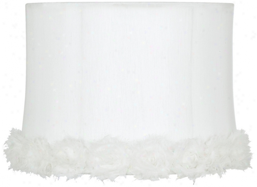 White Rosettes Drum Shade 13x14x10 (spider) (u0986)
