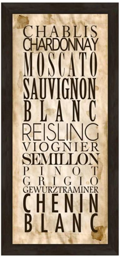 "White Wine Types A 22 1/2"" High Framed Wine Wall Art (w0426)"