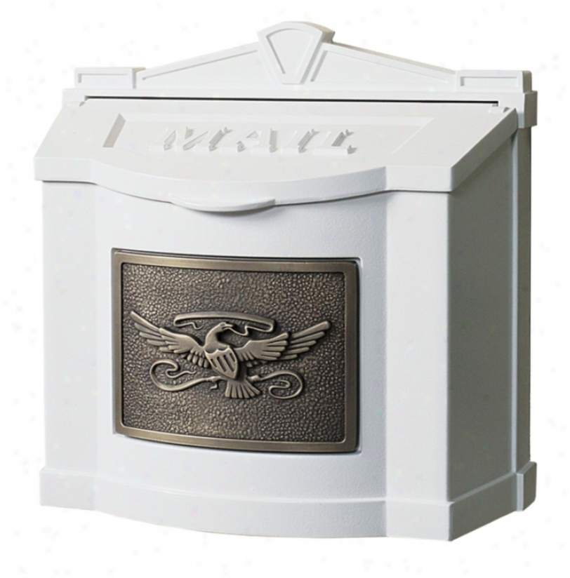White With Antique Alloy of copper Wallmount Mailbox (74613)