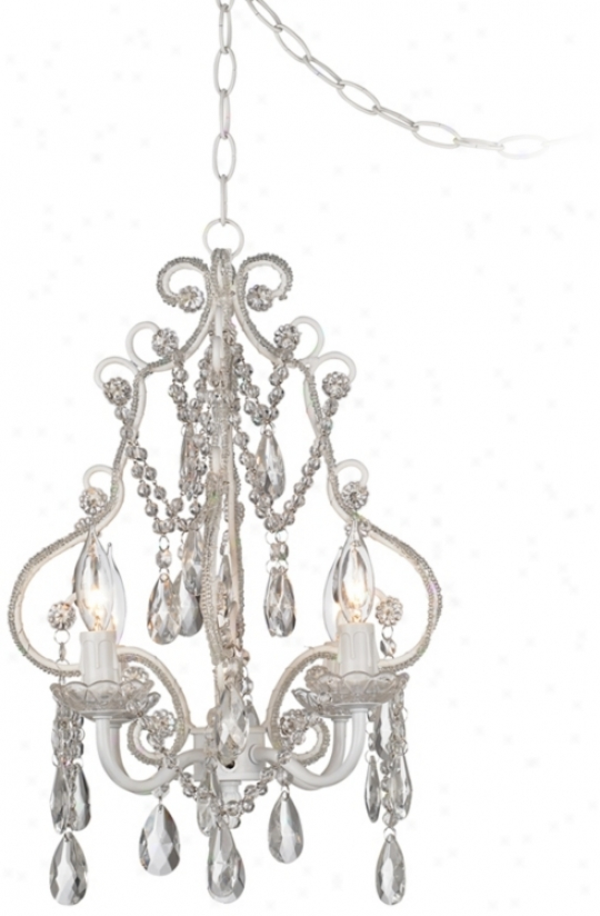 White With Crystal Accents Plug-in Swag Chandelier (p5787)