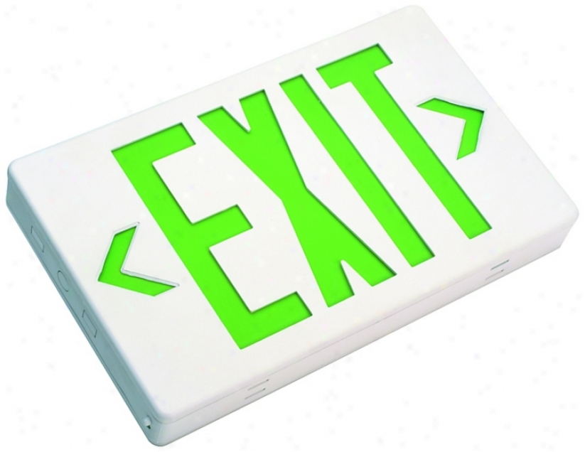 Wite With Green Top/side Led Exit Sign With Battery Backup (45665)