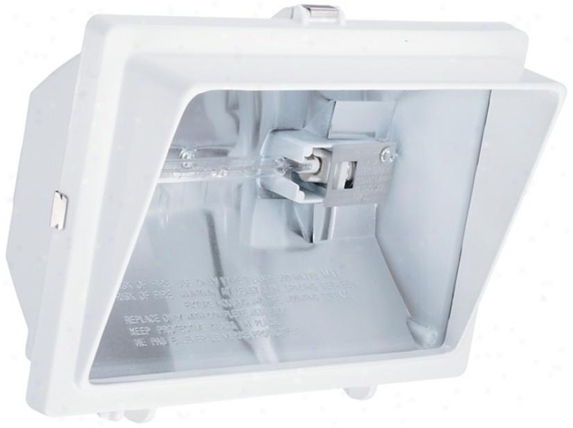White With Light Visor Halogen Outdoor Flood Wall Light (h9555)