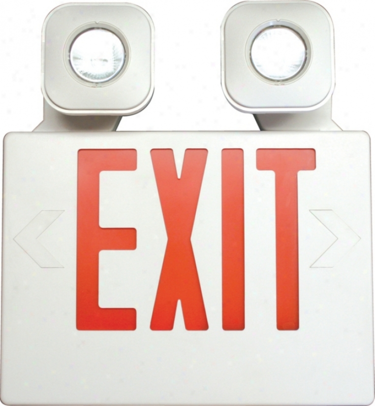 White With Red Mr16 Led Emergency Light Exit Sign (47714)