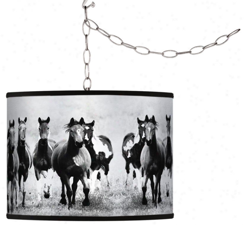 Wild Horses Giclee Swag Style Plug-in Chandelier (f9542-h7632)