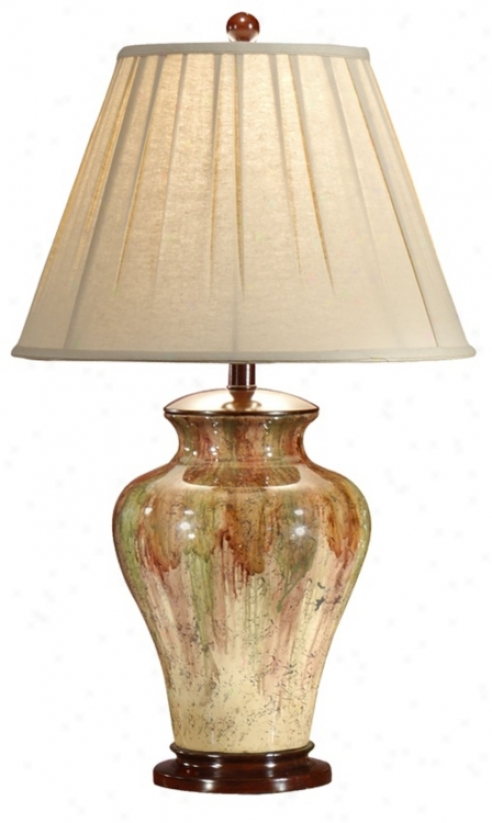 Wildwood Drop Down Colors Hand-painted Porcelain Table Lamp (p4205)