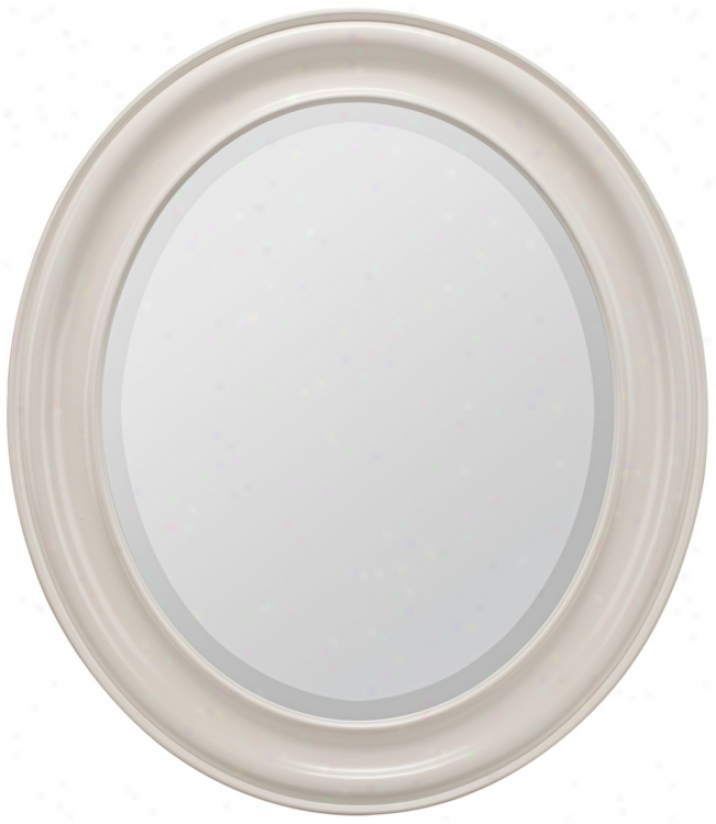 Willoughby Distressed White 30&quot; High Oval Wall Mirror (p7928)