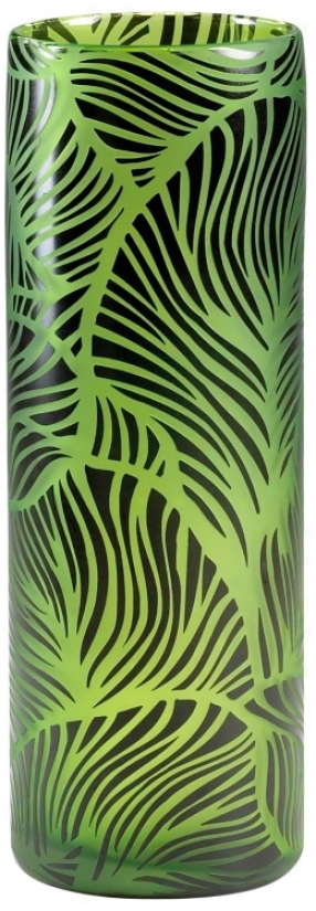 Willow Large Green And Black Glass Vase (v1362)