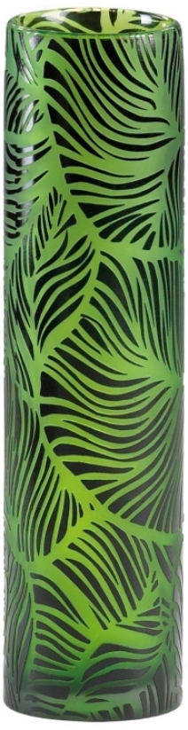 Willow Small Green And Black Glass Vase (v1359)