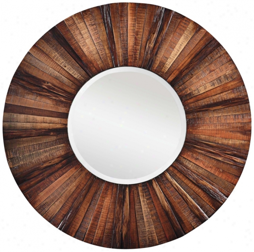 "Windswept Sunburst 36"" Diameter Round Wall Mirror (p7915)"