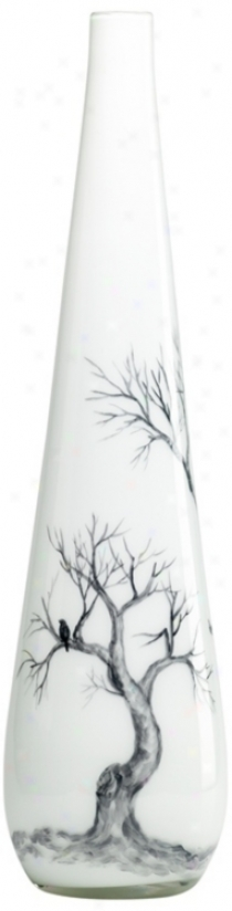 Winter Elm Glass Large White Vase (v1438)