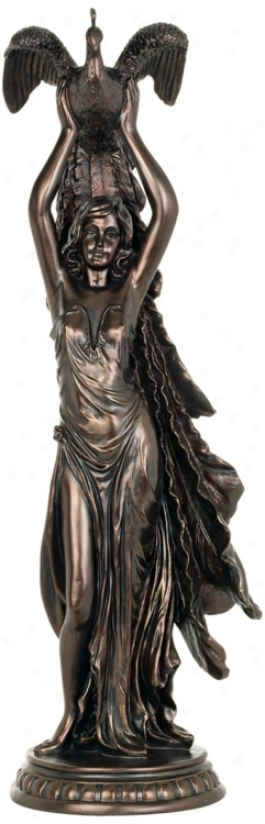 Woman Holding Peacock Aloft Sculpture (m2838)