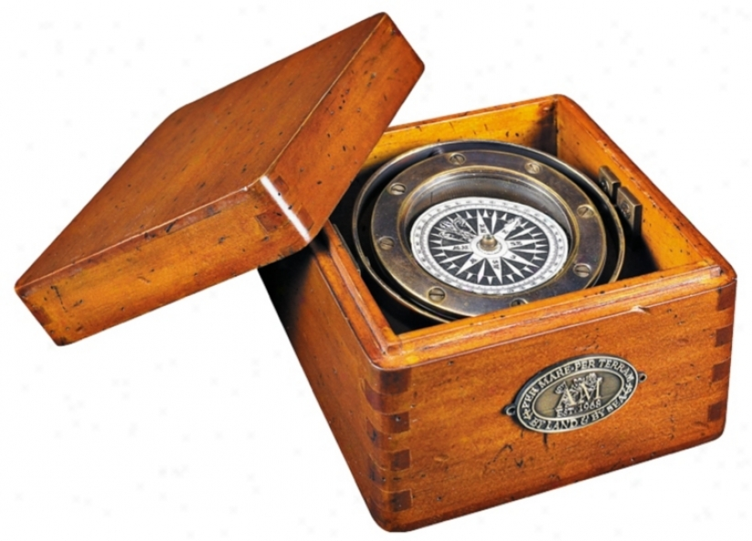 Wood And Solid Brass Boxed Lifeboat Compass (v0343)
