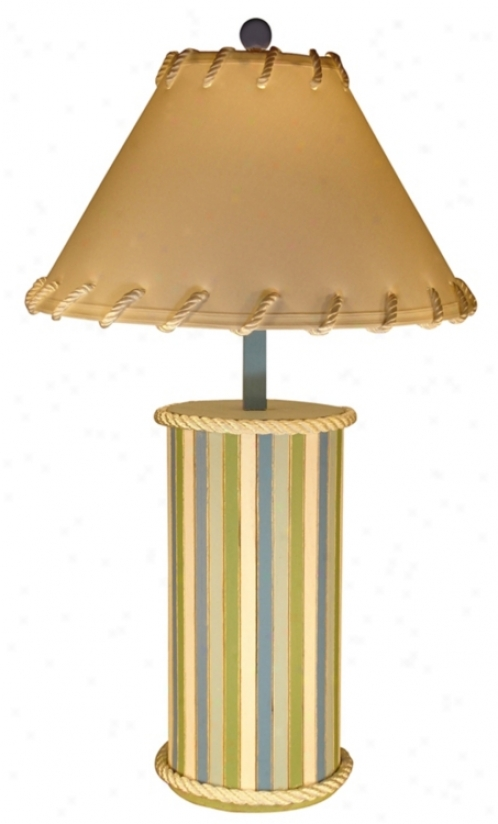 Wood Plank Beach Stripe Cylinder Table Lamp (60534)