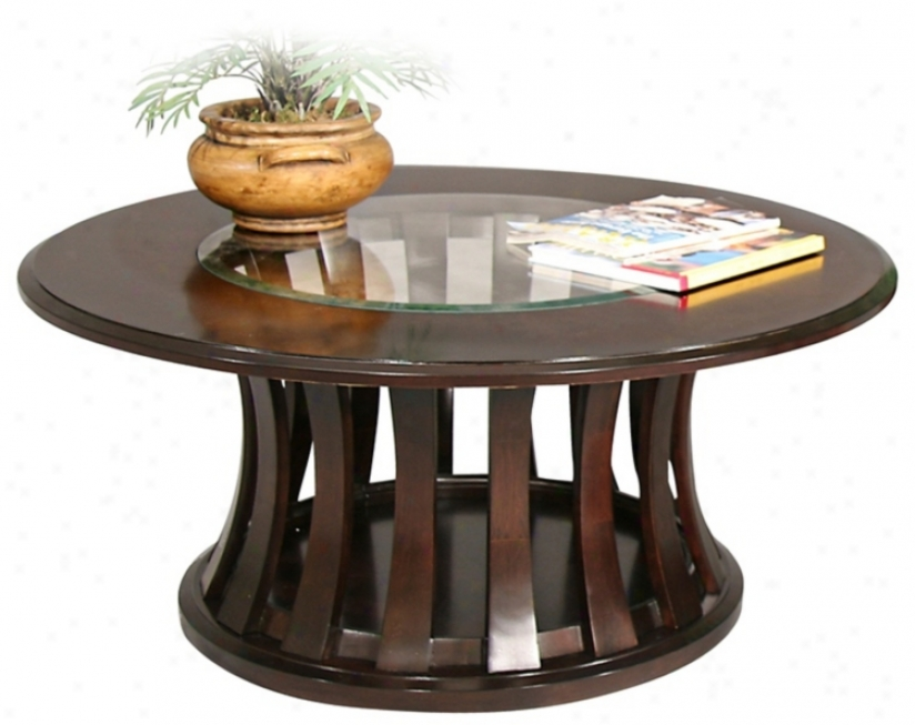 Woodlake Warm Chocolate Finish Round Cocktail Table (p1875)