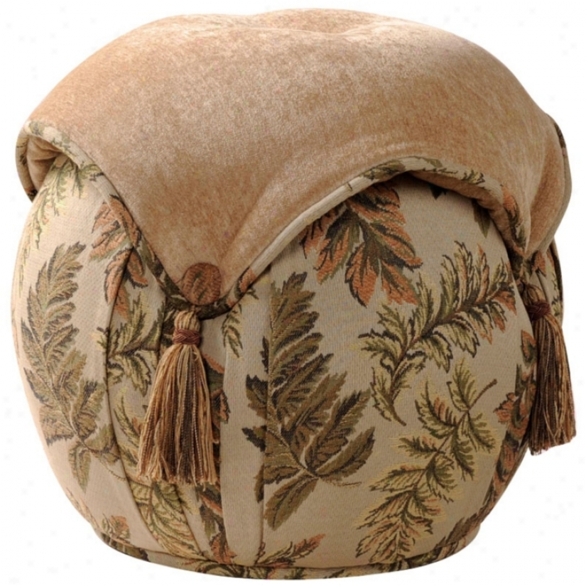Woodland Round Leaf And Tan Button Tassel Ottoman (u0745)