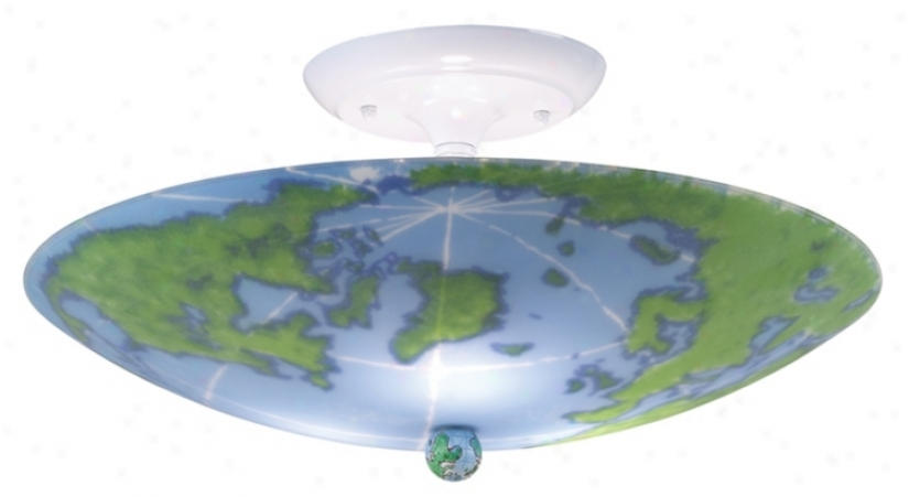 """World Map 17"""" Wide Ceiling Light Fixture (86659)"""
