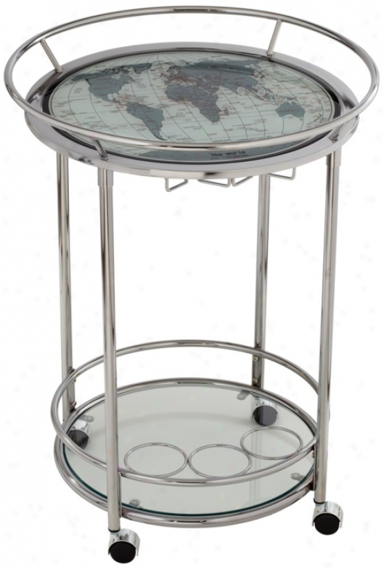 Worod Map Chrome And Glass Serving Cart Attached Wheels (u4428)