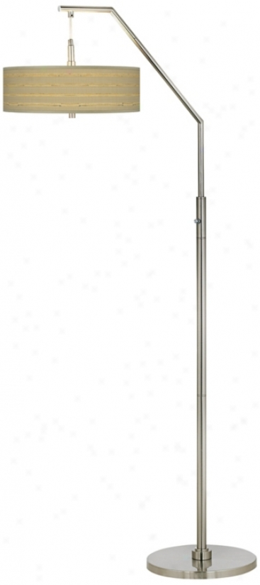 Woven Reed Giclee Shade Arc Floor Lamp (h5361-v3104)