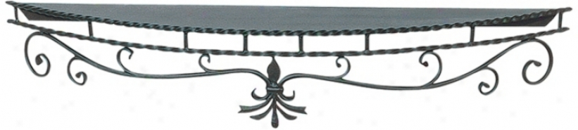 "Wrought Iron 72"" Wide Black Fireplace Mantel Shoal (u9421)"