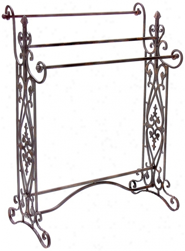 Wrought Iron Scroll Towel Rack (j7227)