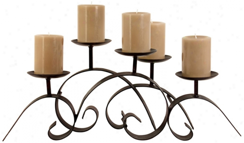 Wrought rIon Scrolls Candle Holder (t9461)