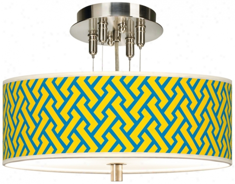 "Yellow Brick Weave Giclee 14"" Wide Ceiling Light (55369-w3707)"