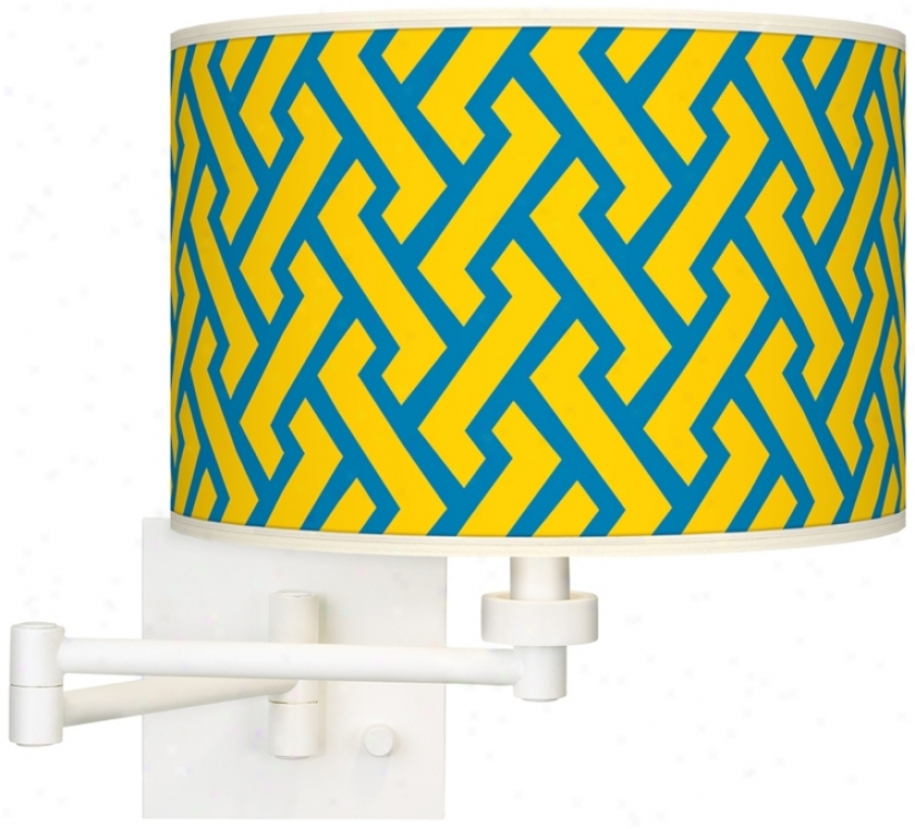 Yellow Brick Weave Giclee White Swing Arm Wall Light (h6558-w3506)