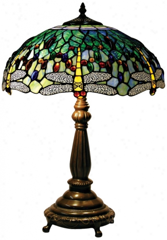 Yellow Dragonfly Tiffany Style Table Lamp (61273)