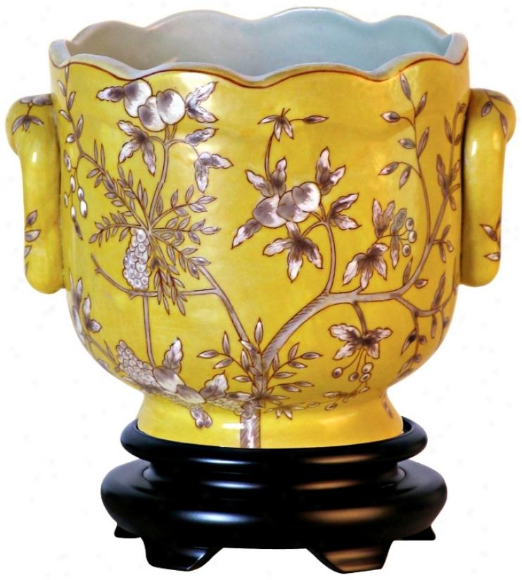 Yellow Floral Porcelain Cachepot (v2655)