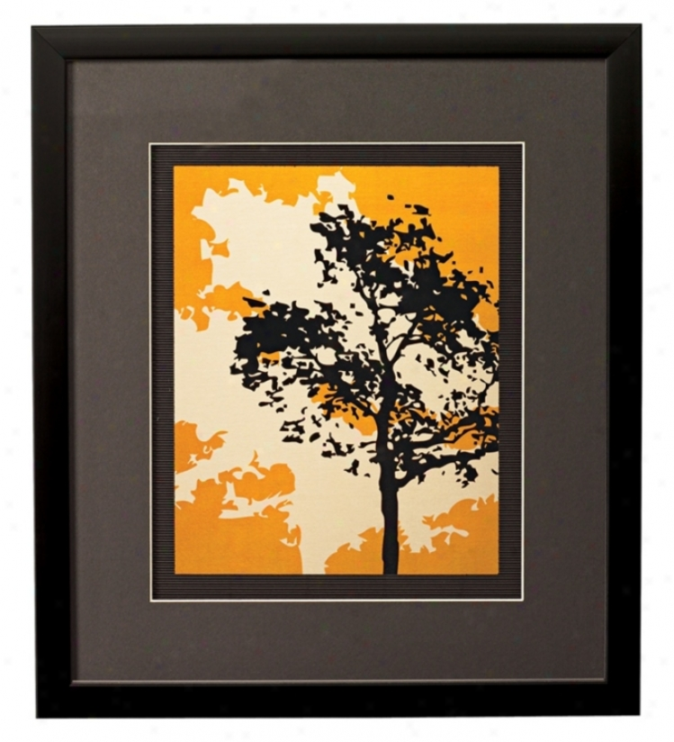 "Yellow Metal Trees A Framed 17"" High Wall Art (k2028)"