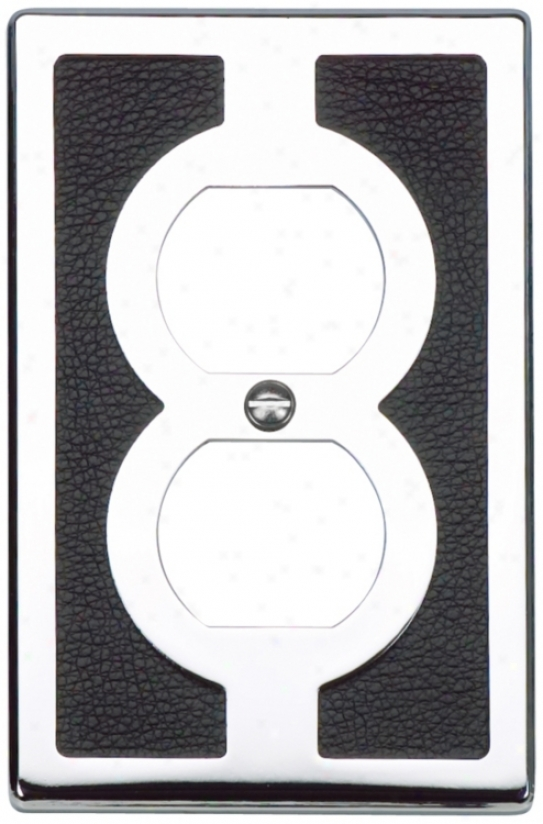 Zanzibar Black Leather And Chrome Outlet Wall Plate (85847)