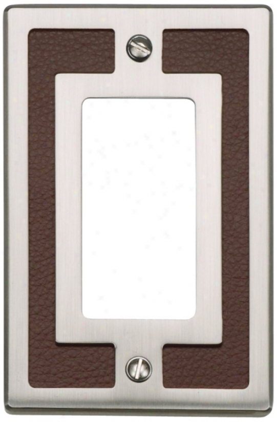 Zanzibar Brown Leather And Brushed Nickel Rocker Wall Plate (85989)