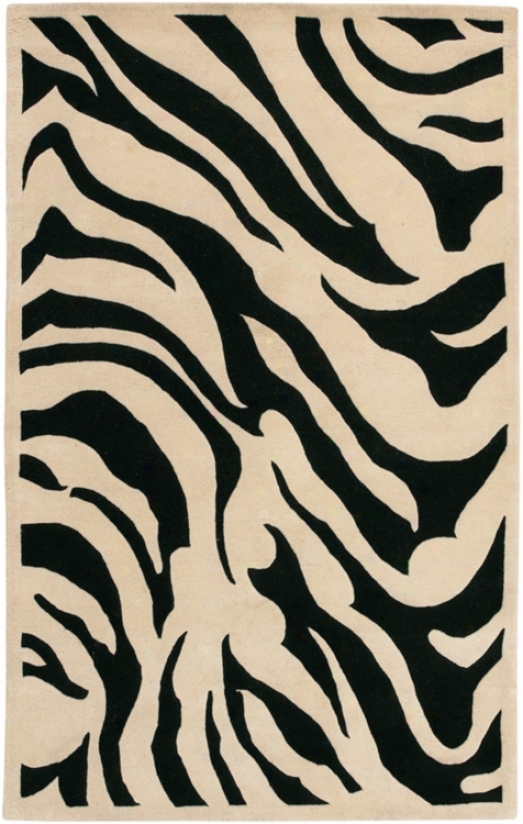 "Zebra 7'9"" Round New Zealand Wool Area Rug (16178)"
