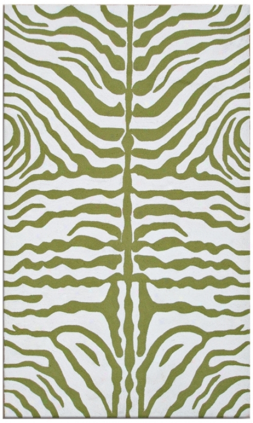 Zebra Stripe Green Indoor Outdoor 8'x 11' Rug (k0189)