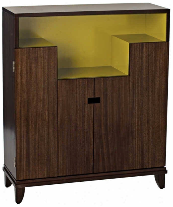Zebra Wood Green Lacquer Bar Cabinet (h8583)
