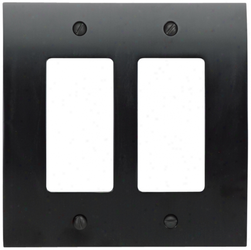 Zephyr Black Double Rocker Cohvex Wall Plate (82277)
