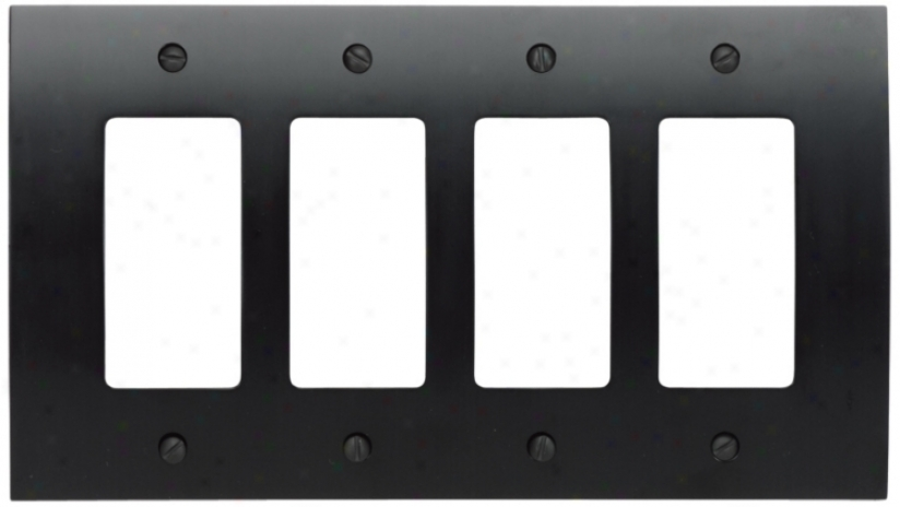 Zepyyr Black Quad Rocker Convex Wall Plate (82344)