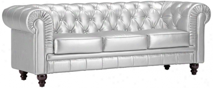 Zuo Aristocrat Silver Leatherette Sofa (t2668)