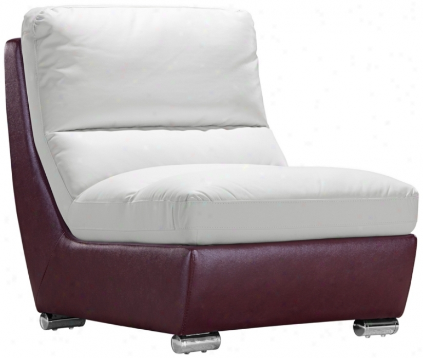 Zuo Bond White & Maroon Modular Middle Seat Chair (t2650)