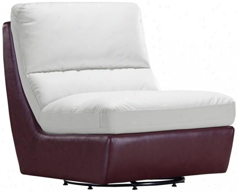 Zuo Bond White & Maroon Modular Swivel Chair (t2652)