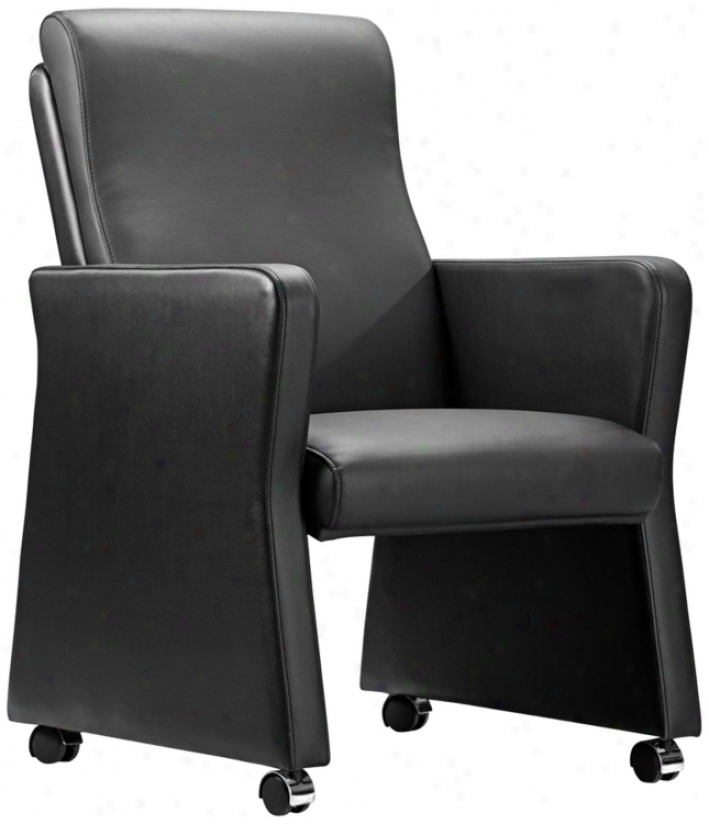 Zuo Burl Black Leatherette Arm Chair (t2574)