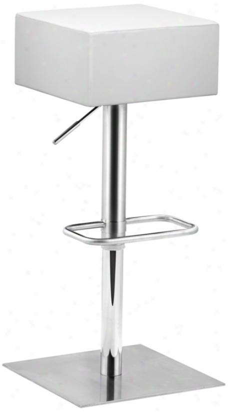 Zuo Butcher White Adjustable Height Bar Or Counter Stool (t2534)