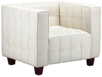 Zo Butt0n Collection White Leather Armchair (g4393)