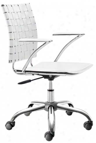 Zuo Criss Cross White Adjustable Office Chair (g6384)