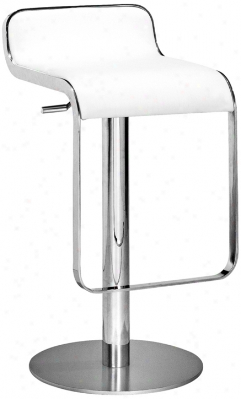 Zuo Equino White Adjustable Height Barstool (g4162)