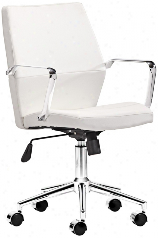 Zuo Holt Collection Low Back White Offfice Chair (v7442)