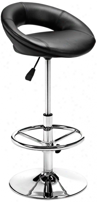 Zuo Pluto Black Adjustable Height Bar Or Counter Stool (g4158)